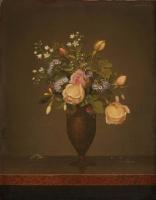 Мартин Джонсон Хед. Розы и полевые цветы в коричневой вазе