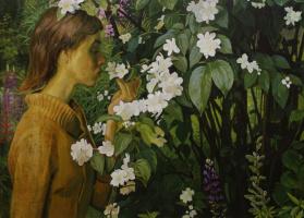 Дмитрий Дмитриевич Жилинский. «Жасмин. Портрет Ольги Жилинской» 1978 Оргалит, темпера