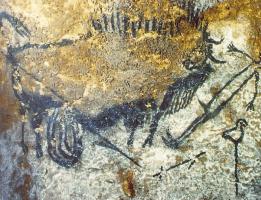 Живопись Пещера. Раненый бизон нападает на человека