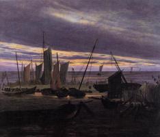 Каспар Давид Фридрих. Лодки в гавани вечером
