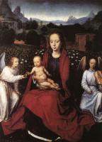 Ганс Мемлинг. Дева с младенцем в розовом саду с двумя ангелами