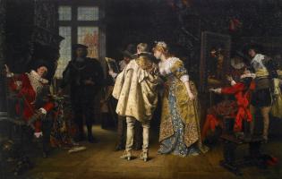 Adolf Alexander Lesrell. Flemish lords visiting Rembrandt studio