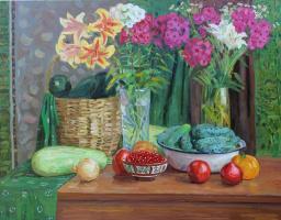 Eugene Alexandrovich Kazantsev. Still life of vegetables, flowers, red currants.