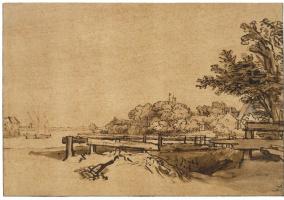 Рембрандт Харменс ван Рейн. Пейзаж на берегу Амстела