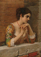 Эжен де Блаас. Венецианская красавица на балконе