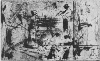 Jean-François Millet. Woman to hang linen