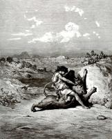 Поль Гюстав Доре. Иллюстрация к Библии: Самсон убивает льва