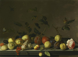 Baltazar van der Ast. Still life with fruit, a rose and shells on the table