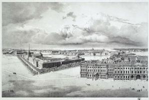Григорий Григорьевич Чернецов. Часть панорамы Дворцовой площади, снятой с лесов Александровской колонны