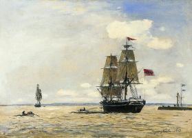 Ян Бартолд Йонгкинд. Норвежский военный корабль оставив Порт Онфлер