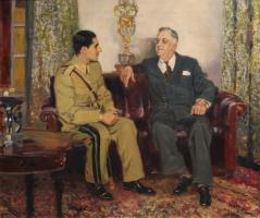 Meeting of US President Franklin Delano Roosevelt and Shah of Iran Mohammad Reza Pahlavi. 1944