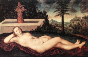Лукас Кранах Старший. Лежащая речная нимфа у фонтана