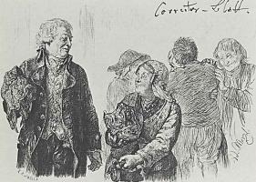 """Адольф фон Менцель. Иллюстрация к """"Разбитому кувшину"""" Генриха фон Кляйста"""