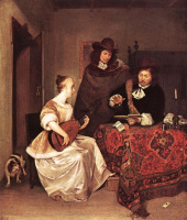 Герард Терборх. Молодая женщина играет Теорба с двумя мужчинами