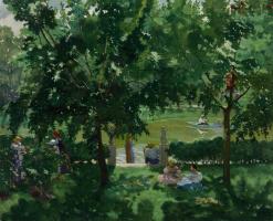 Konstantin Andreevich Somov. The scene at the river.