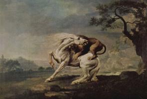 Джордж Стаббс. Лев, напавший на лошадь
