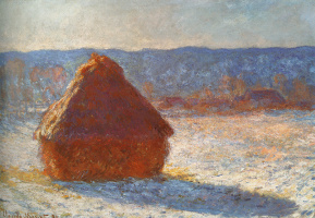 Claude Monet. Haystack in the morning, snow effect