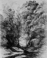 Camille Corot. The Creek under the trees