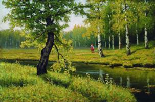 Ефим Ефимович Волков. Летний пейзаж с девочкой