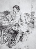 Илья Ефимович Репин. Л. Н. Толстой за работой у круглого стола