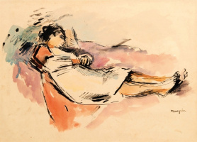 Henri Manguin. Reclining woman in a white shirt