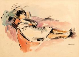 Анри Шарль Манген. Лежащая женщина в белой рубашке