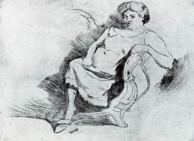 Умберто Боччони. Женщина на лавочке