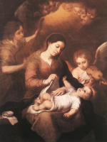 Бартоломе Эстебан Мурильо. Мария с младенцем и ангелы