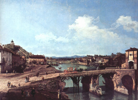 Джованни Антонио Каналь (Каналетто). Вид на античный мост на реке По в Турине