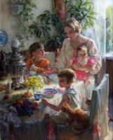 Полина Борисовна Лучанова. За обедом.Автопортрет с детьми. 2010