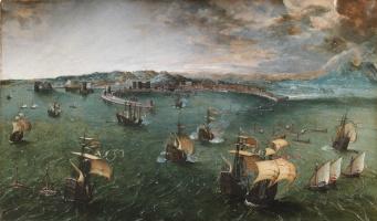 Pieter Bruegel The Elder. Battleship in Neapolitan harbor
