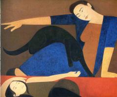 Уилл Барнет. Девушка в синем и черный кот