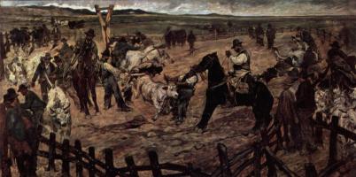 Giovanni Fattori. Branding of young bulls in Maremma