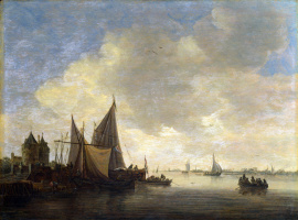 Jan van Goyen. The views of the estuary and the gate