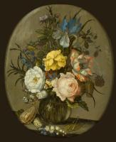 Балтазар ван дер Аст. Цветы в стеклянной вазе, раковины и насекомые