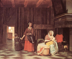 Питер де Хох. Кормилица и горничная