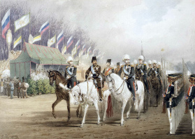 Михай Зичи. Александр II и Насир-ад-Дин Шах во время парада на Царицыном лугу