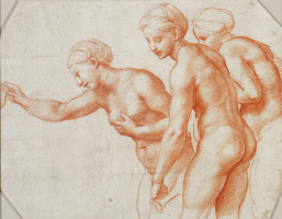 Raphael Sanzio. Study for the frescoes of the Loggia of psyche. The Three Graces