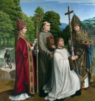 Герард Давид. Каноник Бернандин Сальвиати и трое святых