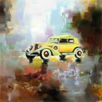 Saveliy Kamsky. Retro car on city background N4