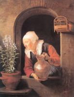 Герард Доу. Старая женщина, поливающая цветы