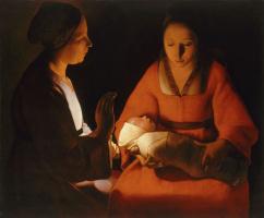 Georges de La Tour. Newborn Baby (Christmas)