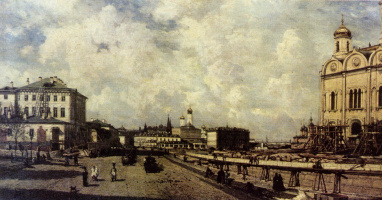 Alexey Petrovich Bogolyubov. View of the Christ the Savior Cathedral from Prechistenka street in Moscow