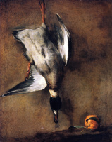 Jean Baptiste Simeon Chardin. Drake mallards hanging on the wall, and a Seville orange
