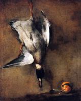 Жан Батист Симеон Шарден. Селезень кряквы, висящий на стене, и севильский апельсин