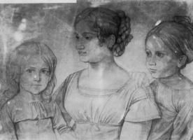 Петер фон Корнелиус. Каролина Гросси с детьми