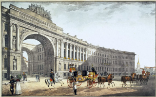 Karl Petrovich Beggrov. View of the arch of General staff building from Palace square