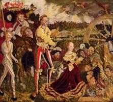 Лукас Кранах Старший. Алтарь св. Екатерины, центральное изображение, мученическая смерть св. Екатерины