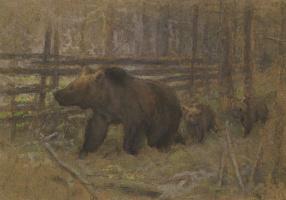 Алексей Степанович Степанов. Медведица с медвежатами