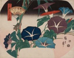 Утагава Хиросигэ. Вьюнок и сверчок, из серии иллюстраций четырех времен года